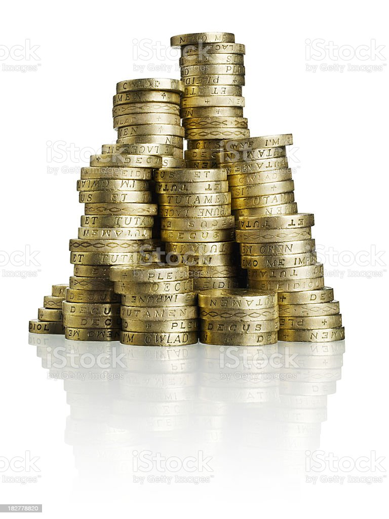 Stack of GBP Coins stock photo
