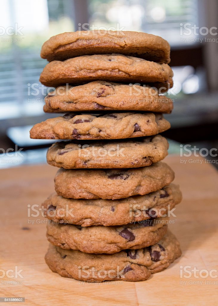 Stack of Giant Chocolate Chip Cookies stock photo
