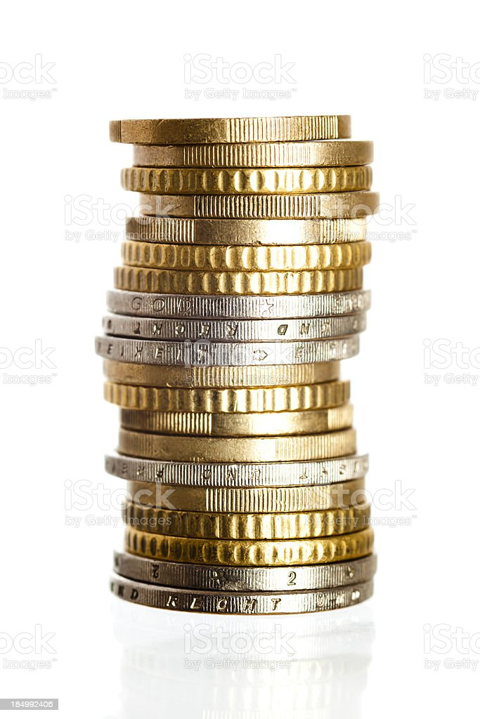 Stack of gold and silver coins stock photo