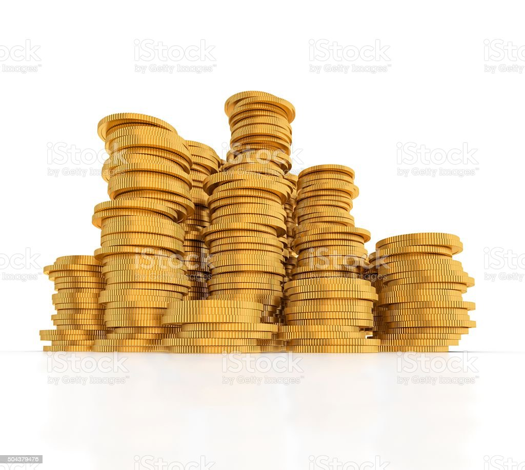 Stack of gold coins. stock photo