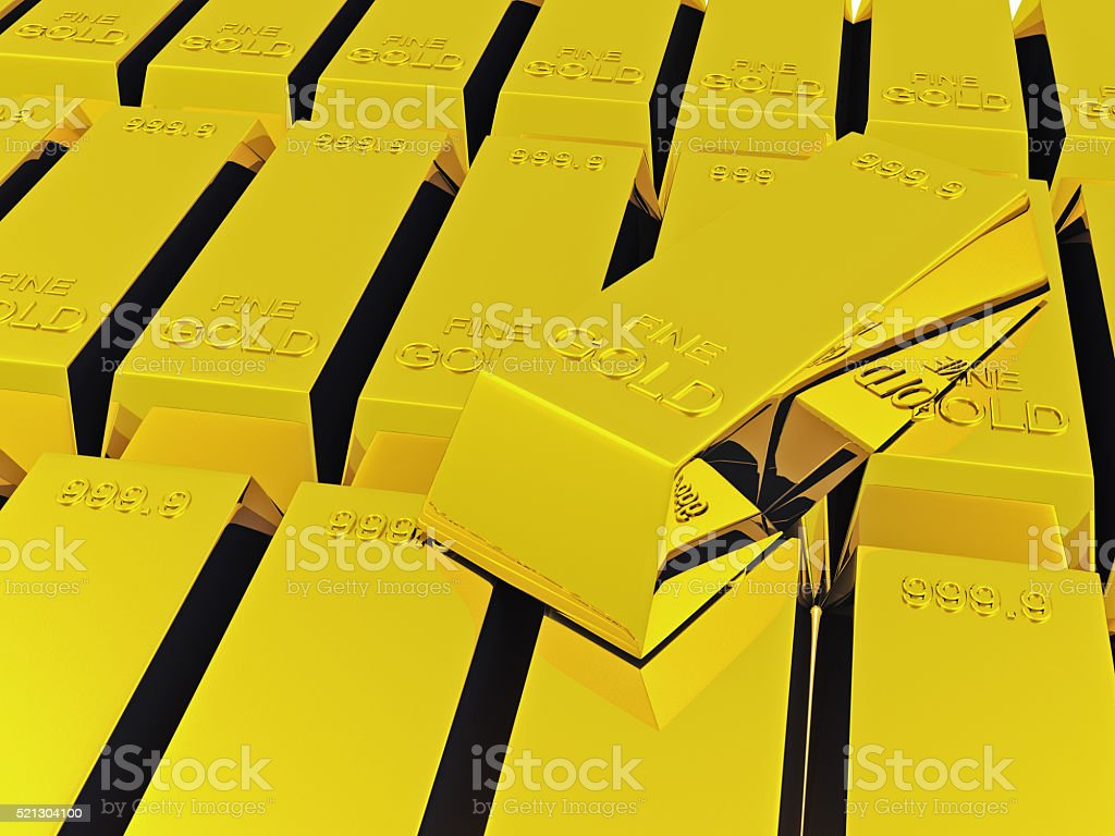 stack of gold ingots stock photo