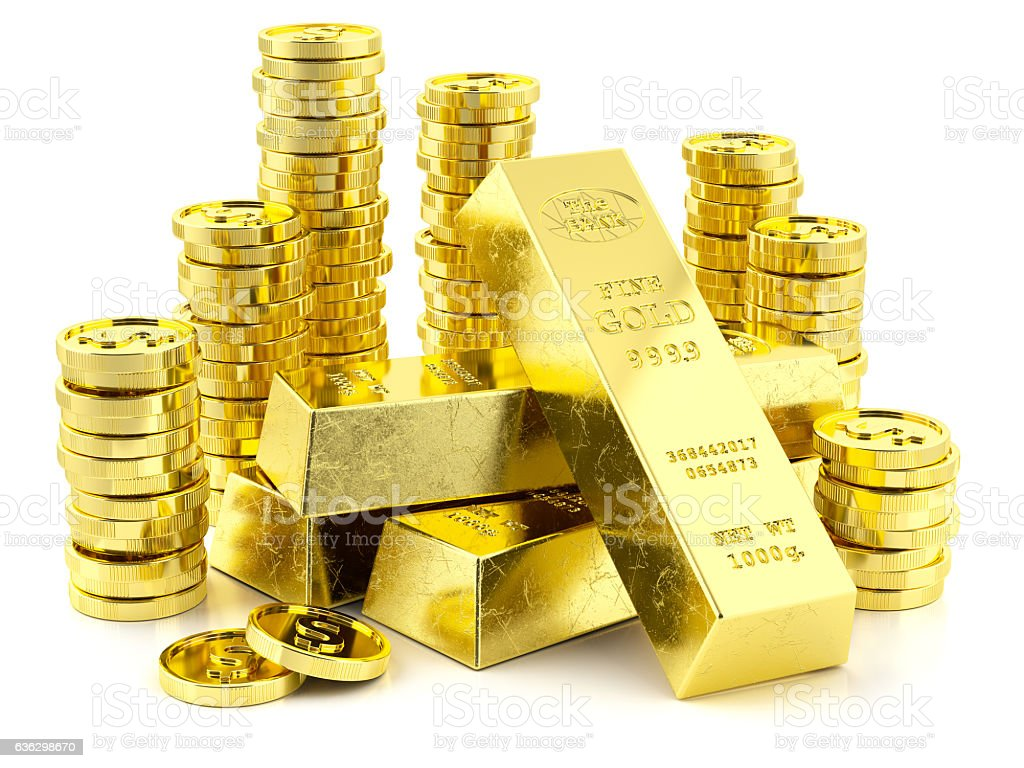 Stack of golden bars and coins stock photo