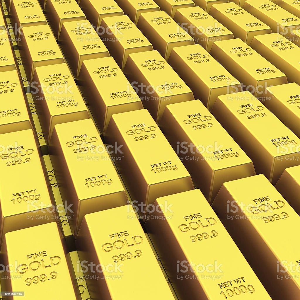 Stack of golden bars stock photo