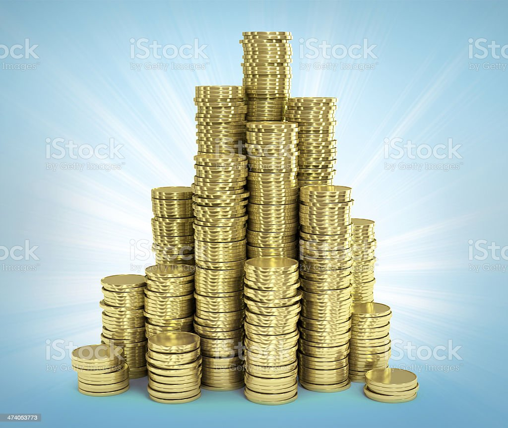 Stack of golden coins. Illustration stock photo