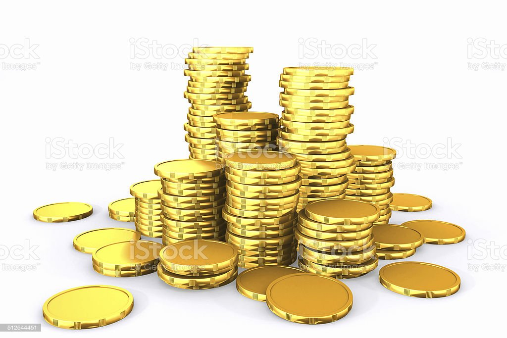 Stack of golden coins. stock photo