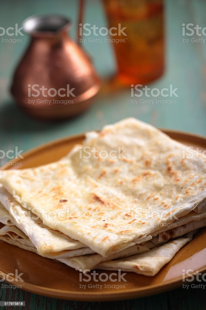 Stack of gozleme on a plate stock photo