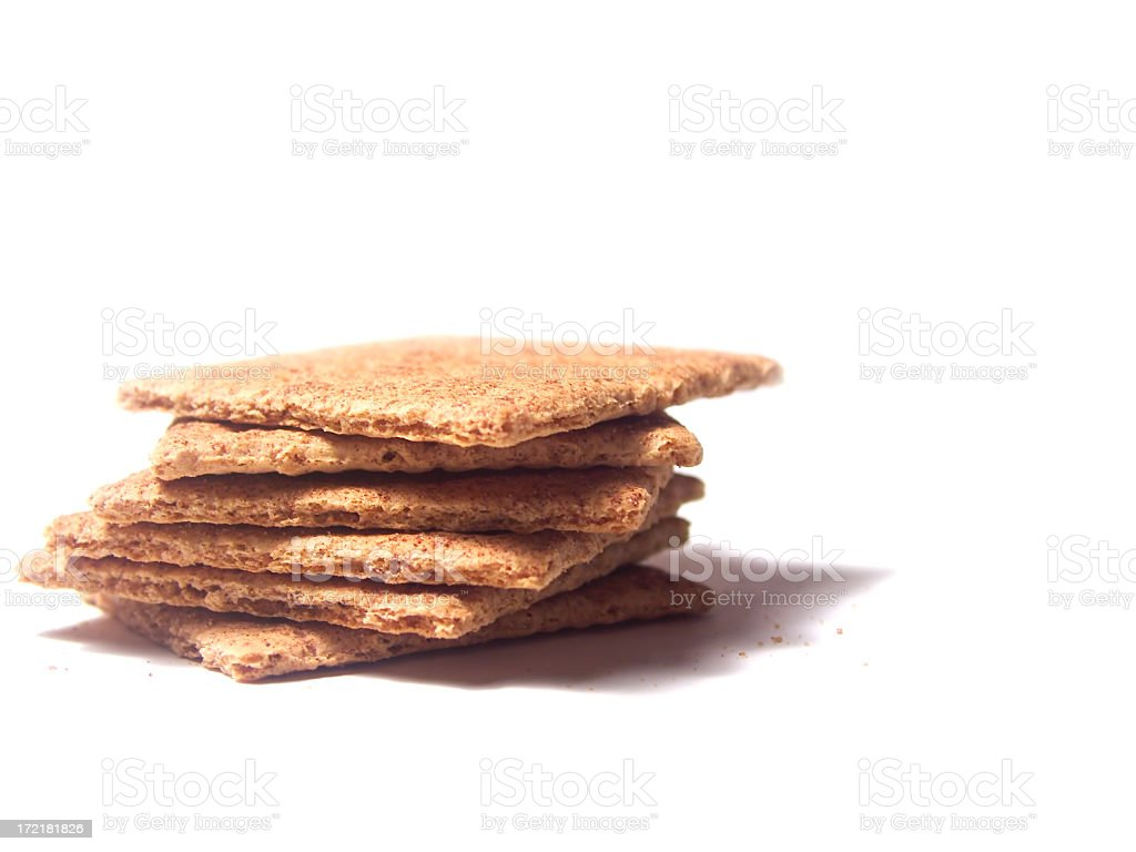 Stack of Graham crackers on a white background stock photo