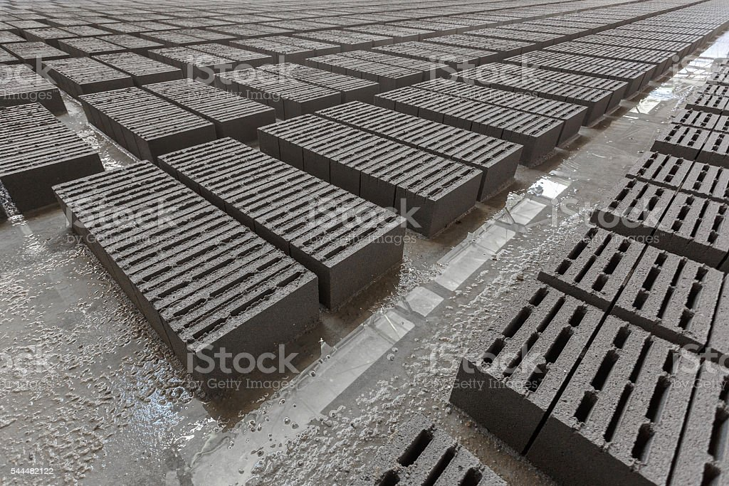 Stack of gray bricks stock photo