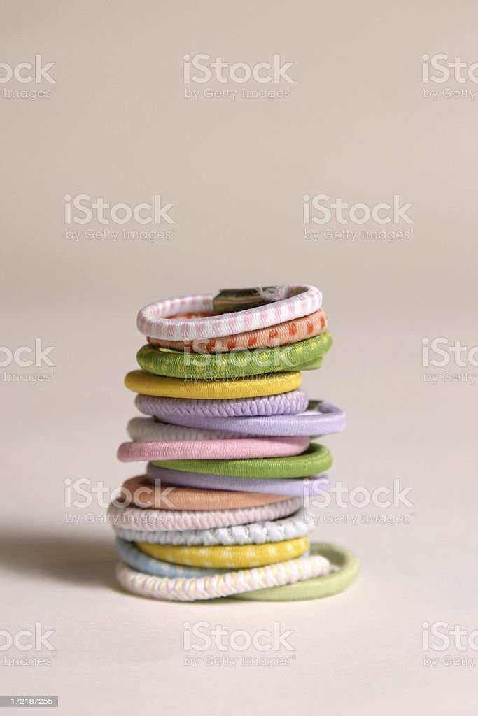 Stack of hair ties stock photo