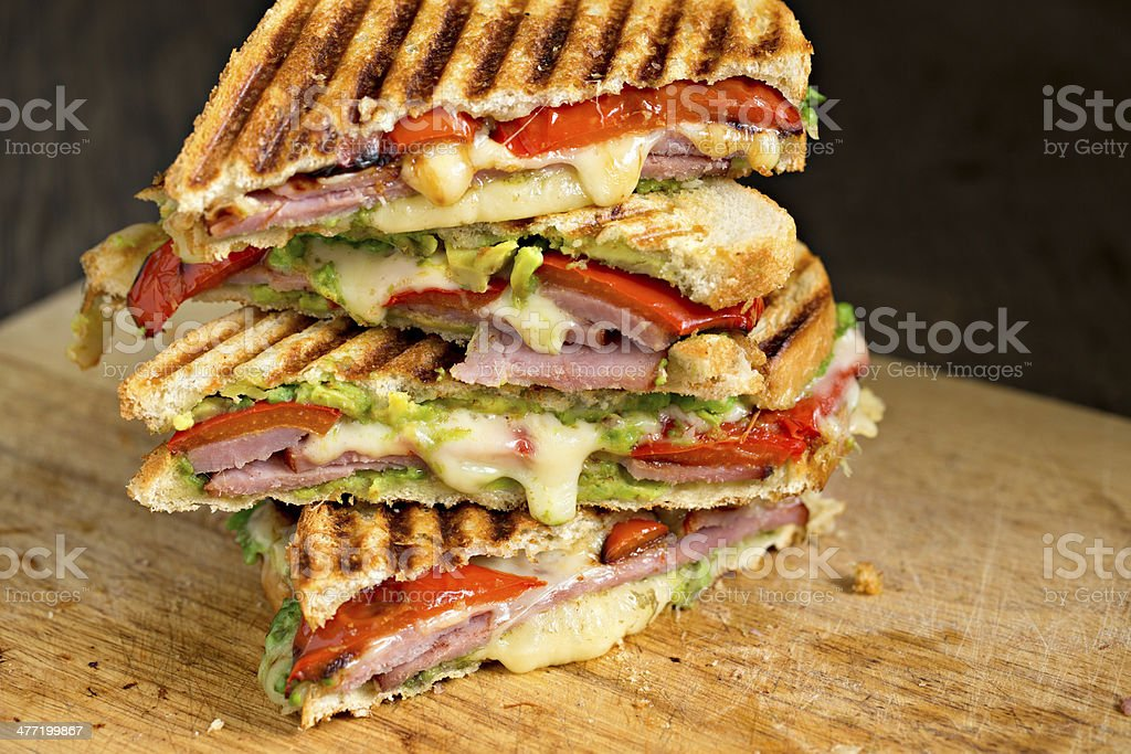 Stack Of Ham And Cheese  Sandwiches stock photo