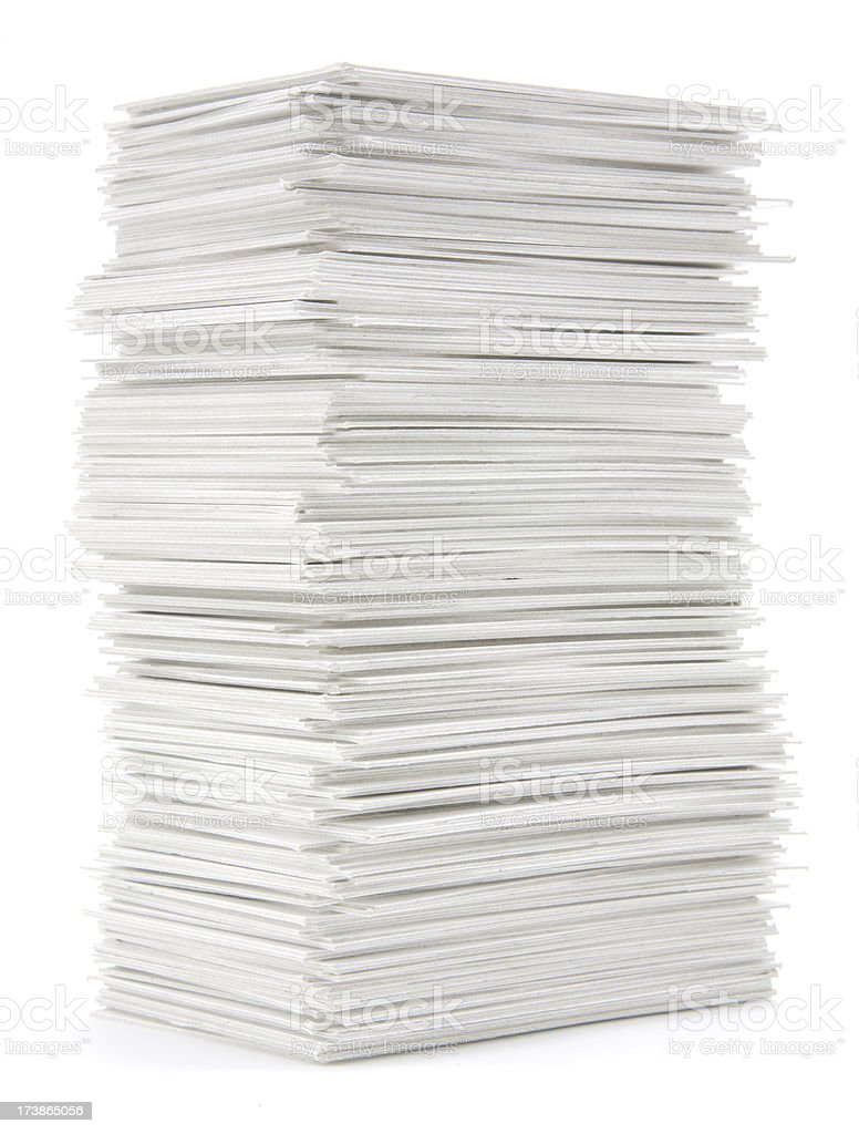 Stack of hand trimmed cards royalty-free stock photo