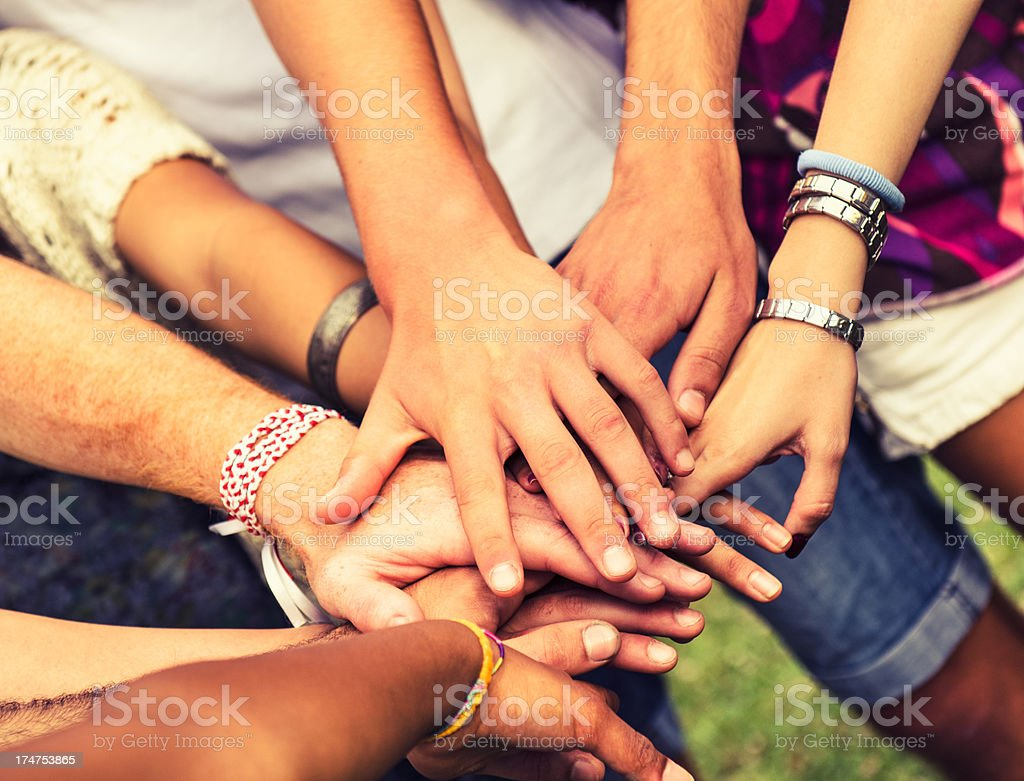 Stack of hands friendship unity stock photo