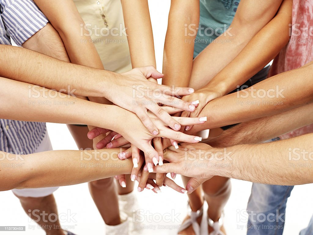 Stack of hands royalty-free stock photo