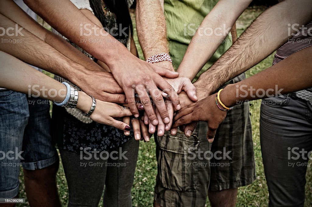 Stack Of Hands.Young People Unity stock photo