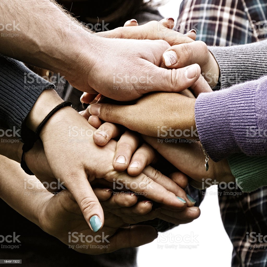 Stack Of Hands.Young People Unity. stock photo