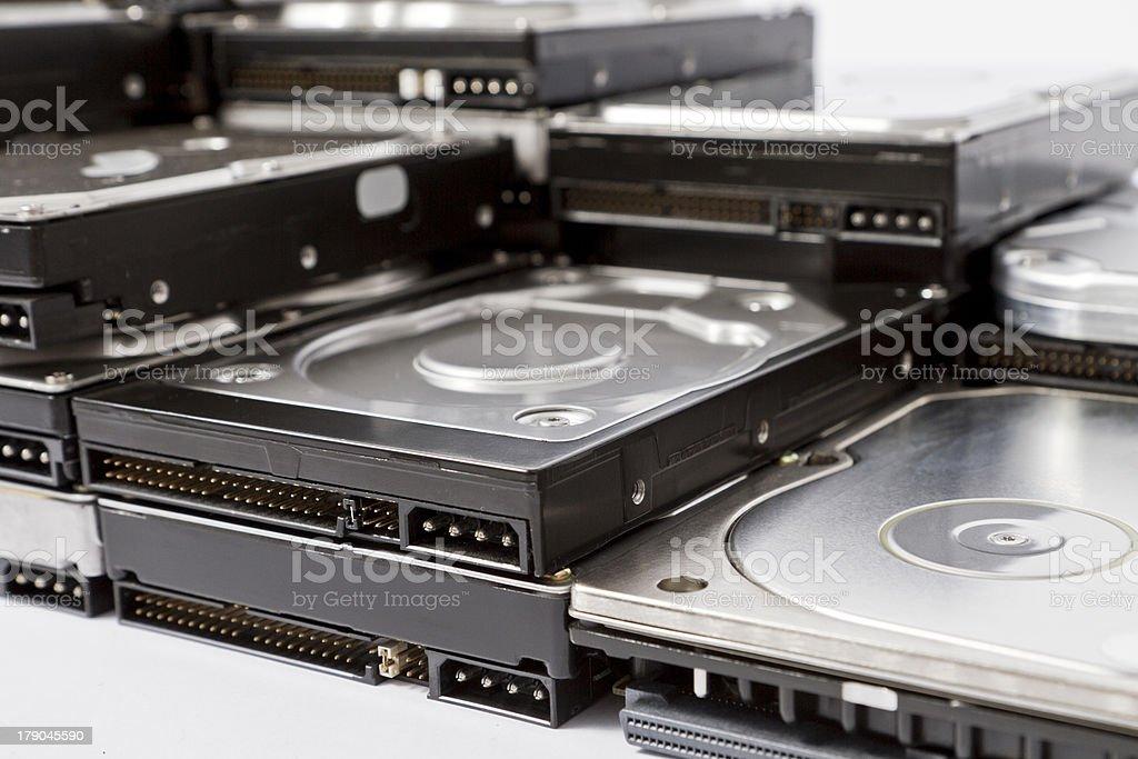 stack of hard drives royalty-free stock photo