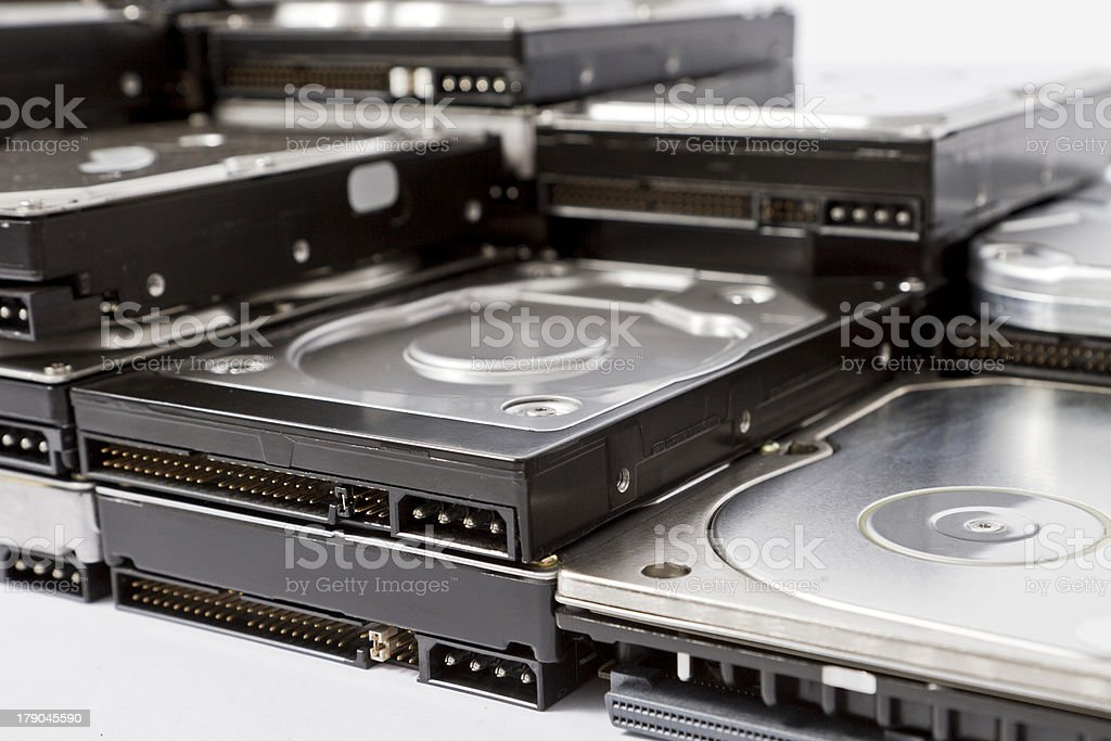stack of hard drives stock photo