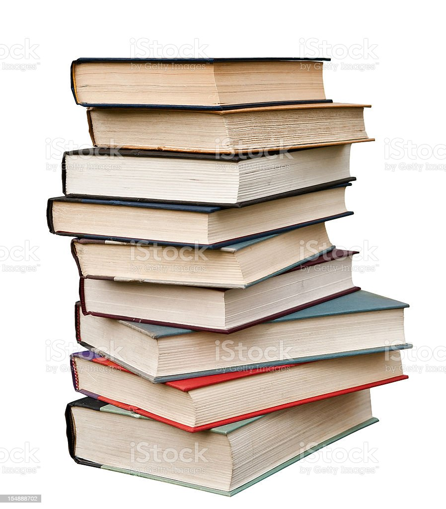 stack of hardcover books isolated royalty-free stock photo
