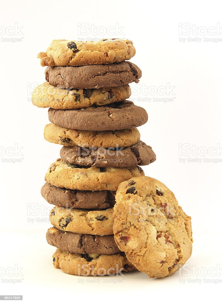 Stack of hazelnut and chocolate cookies stock photo