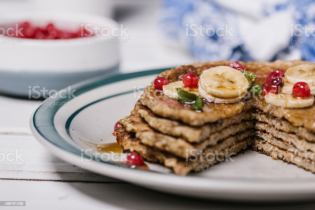 Stack of healthy low carbs oat pancakes royalty-free stock photo