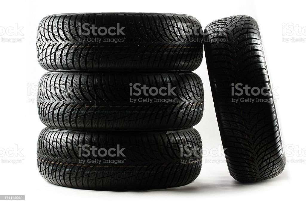stack of high performance tires royalty-free stock photo