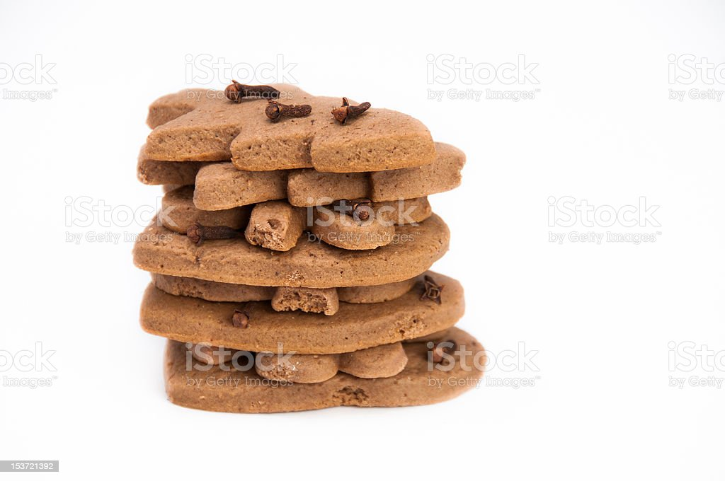 Stack of homemade gingerbread on isolating background royalty-free stock photo
