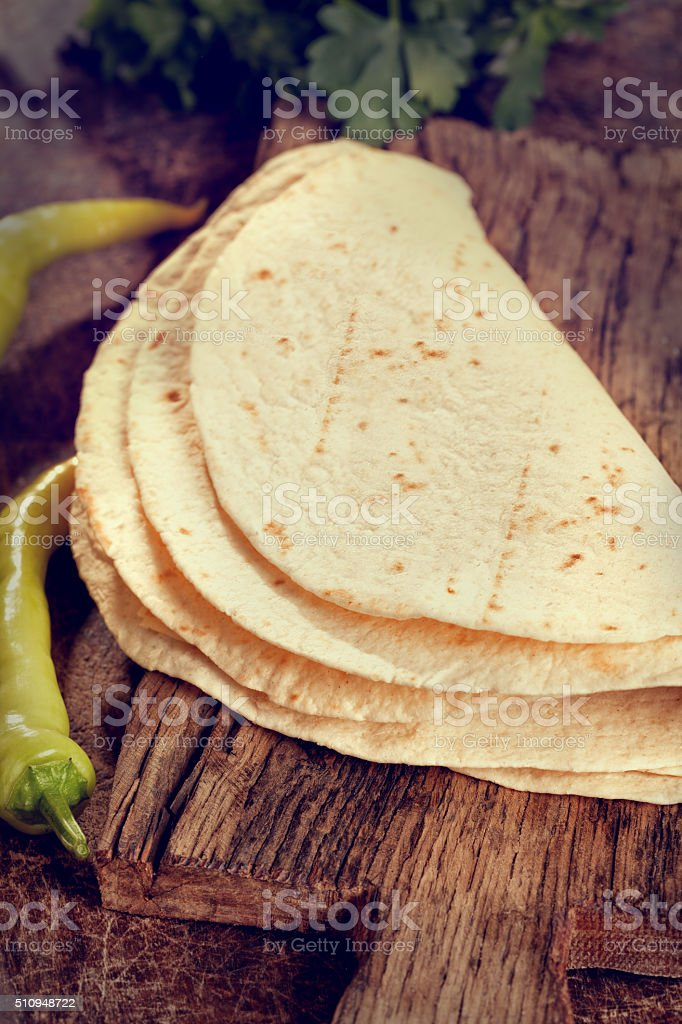 Stack of Homemade Mexican Tortillas stock photo