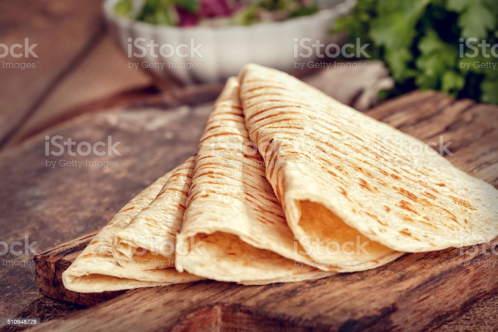 Stack of Homemade Mexican Tortillas stock photo