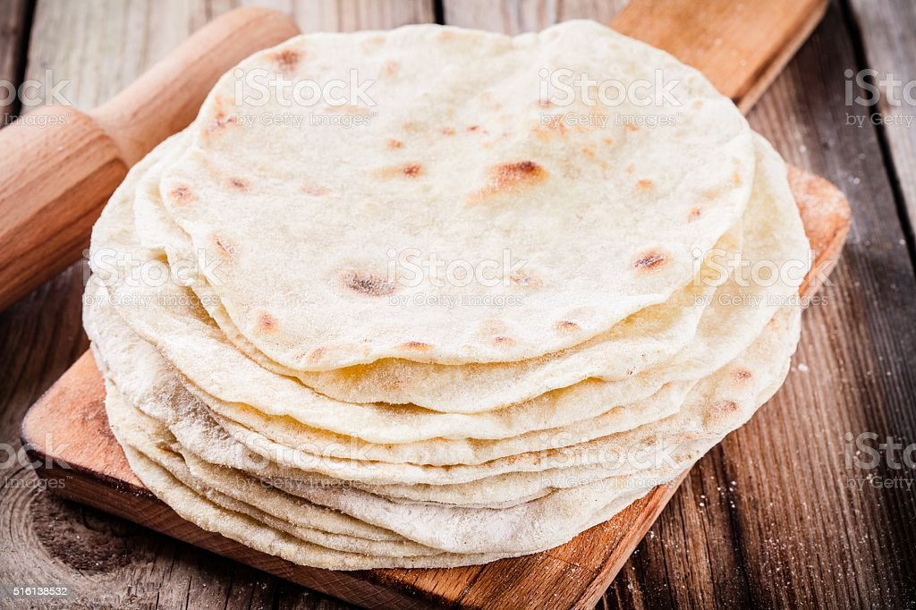 Stack of homemade wheat tortillas stock photo