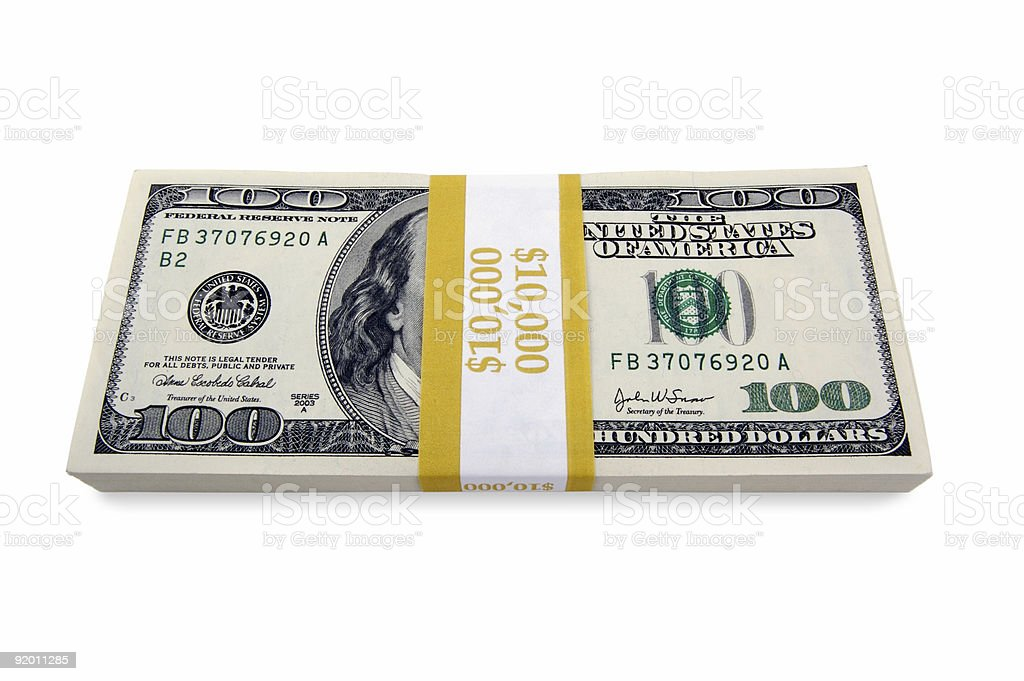 Stack of Hundred Dollar Bills on a white background. royalty-free stock photo