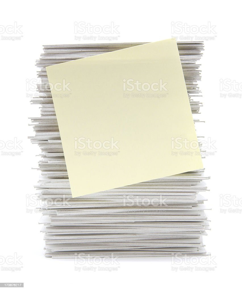 Stack of index cards and yellow adhesive note royalty-free stock photo