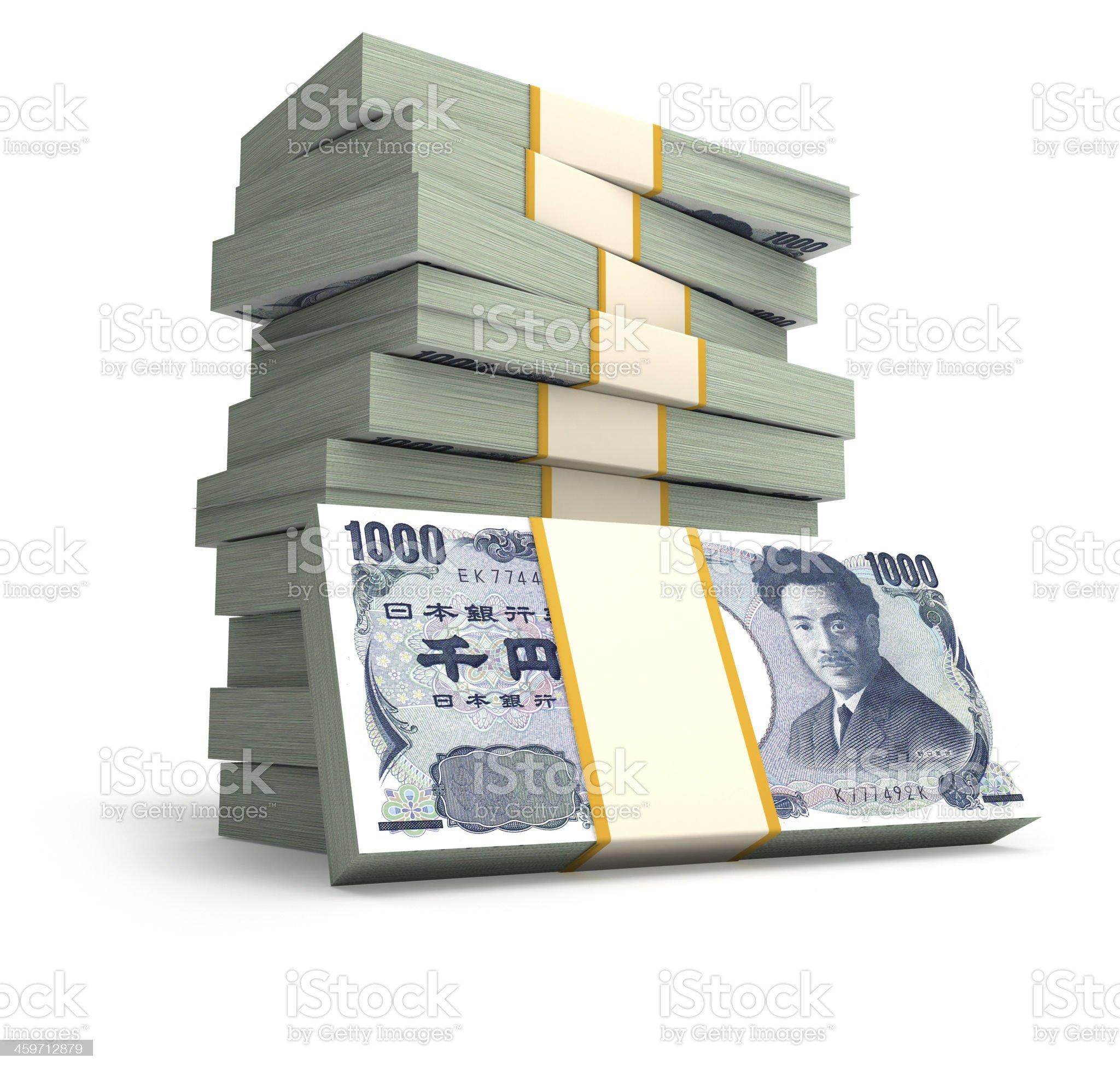 Stack of Japanese Yen bills royalty-free stock photo