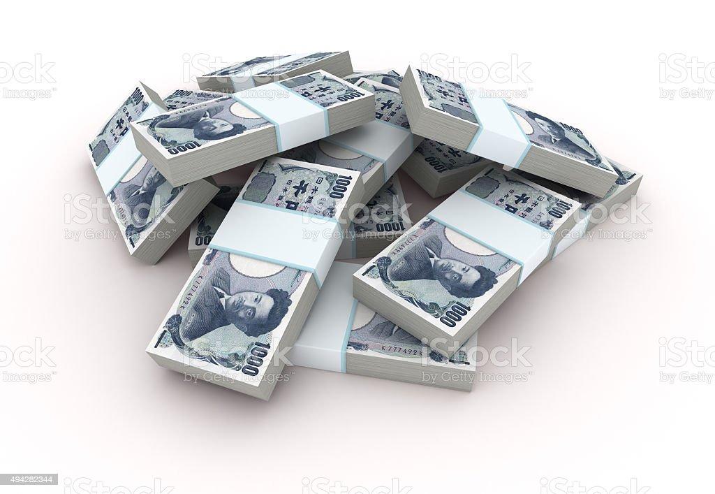 Stack of Japanese Yen bills stock photo