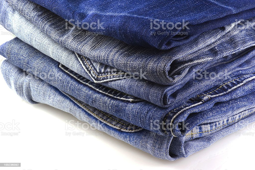 Stack of jeans. stock photo