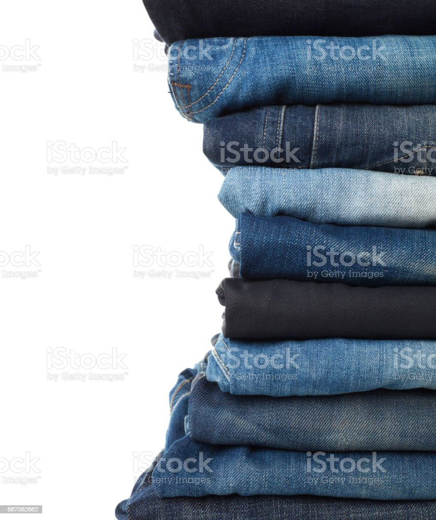 Stack of jeans stock photo