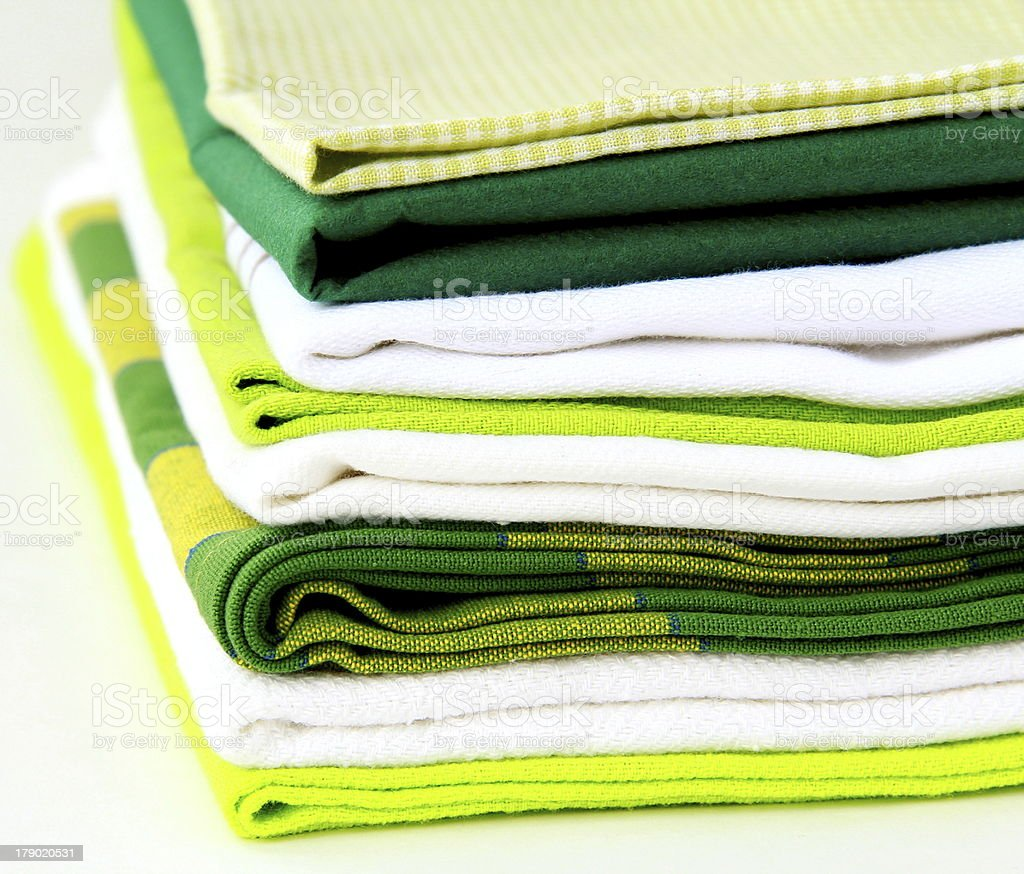 stack of kitchen towels green tone royalty-free stock photo