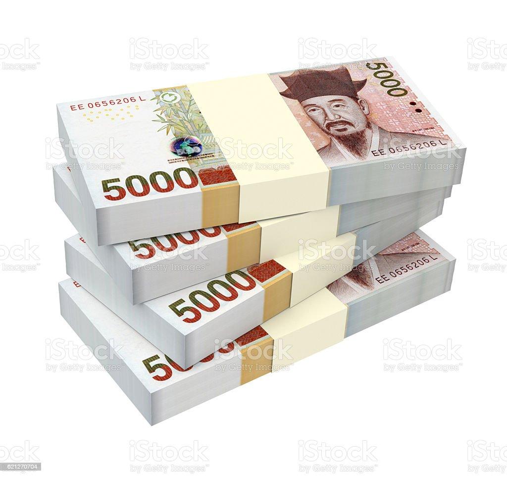 Stack of Korean won bills isolated on white stock photo