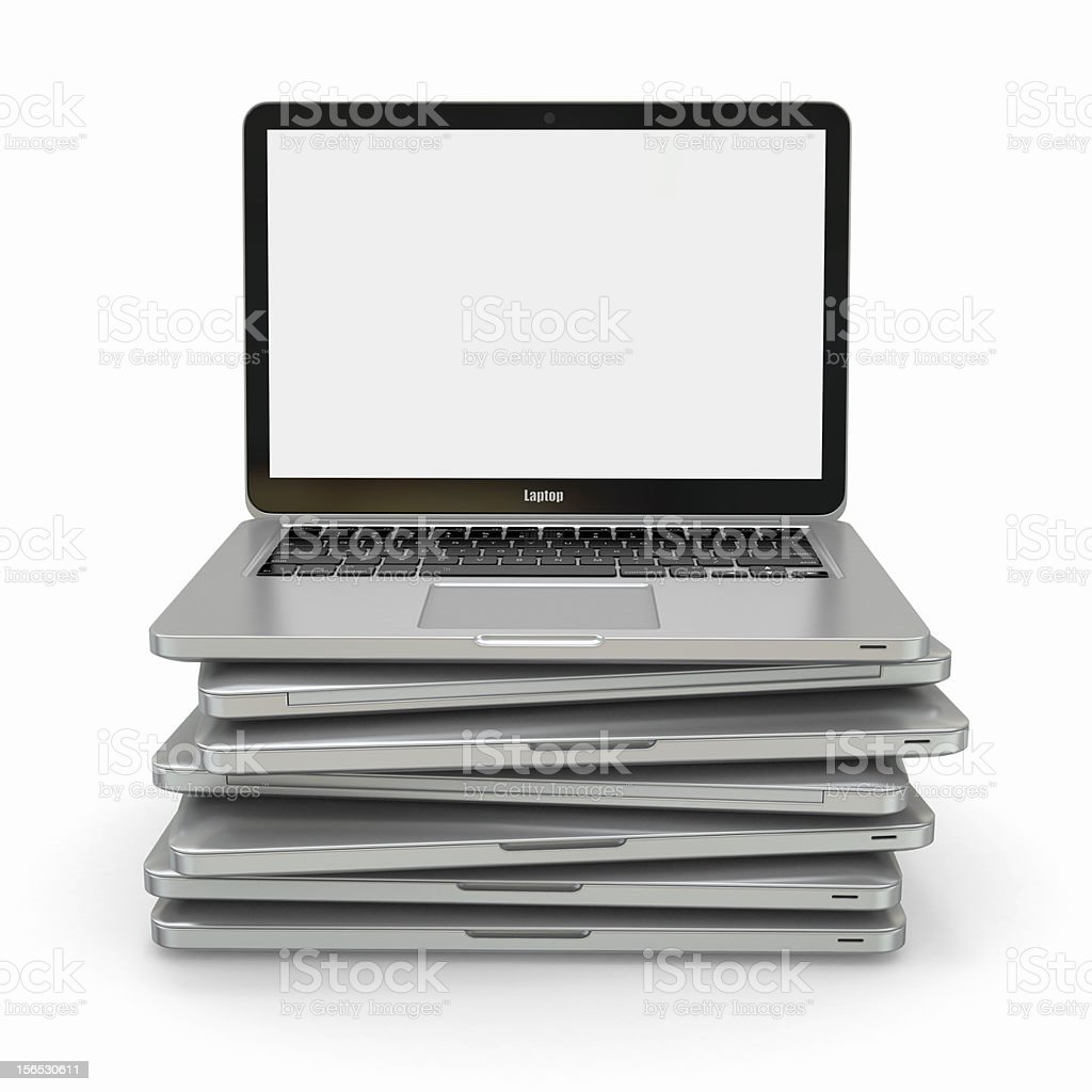 Stack of laptop. 3d royalty-free stock photo