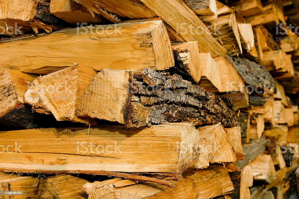 Stack of logs ready for chimney stock photo