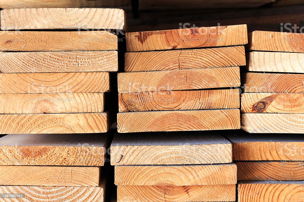 Stack of lumber wood stock photo