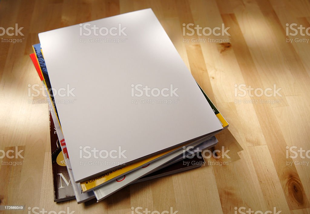 Stack of Magazine on a Table stock photo