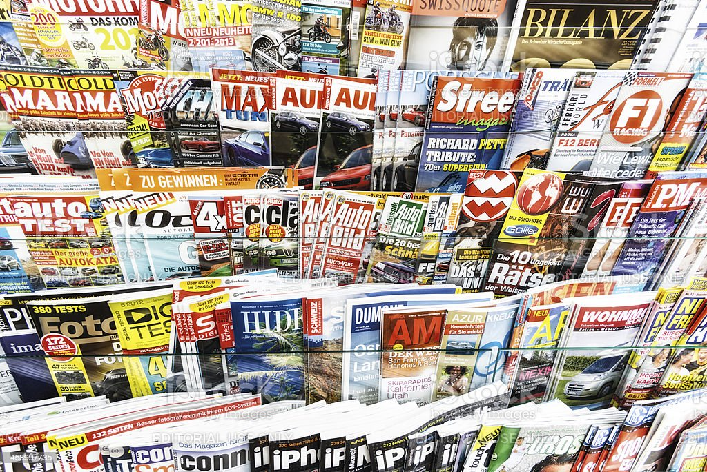 stack of magazines in a kiosk royalty-free stock photo