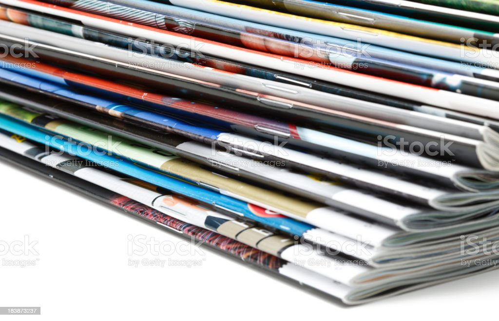 Stack of magazines royalty-free stock photo