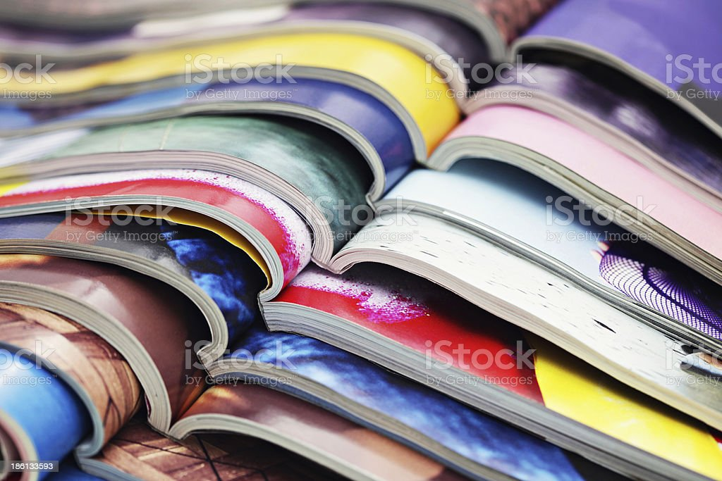 stack of magazines stock photo