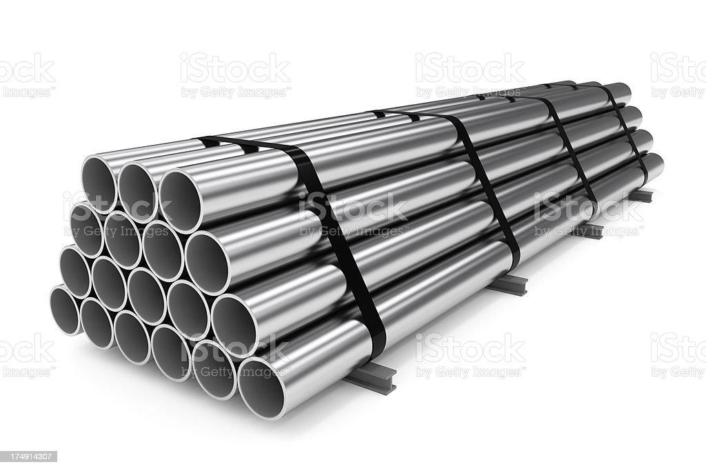 Stack of Metal Tubes royalty-free stock photo