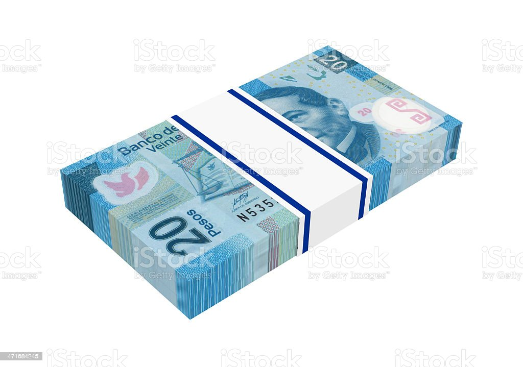 Stack of Mexican pesos bills royalty-free stock photo