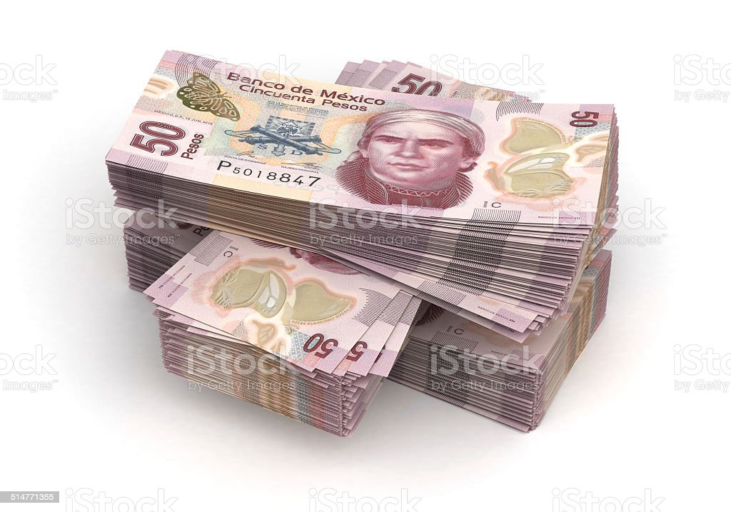 Stack of Mexican Pesos stock photo