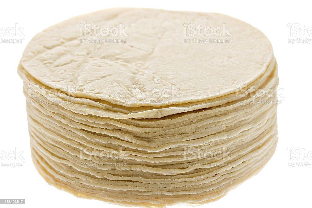 Stack of Mexican Tortillas Isolated royalty-free stock photo