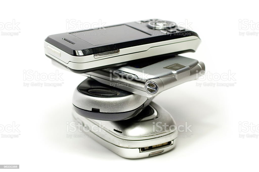 Stack of mobile phones royalty-free stock photo