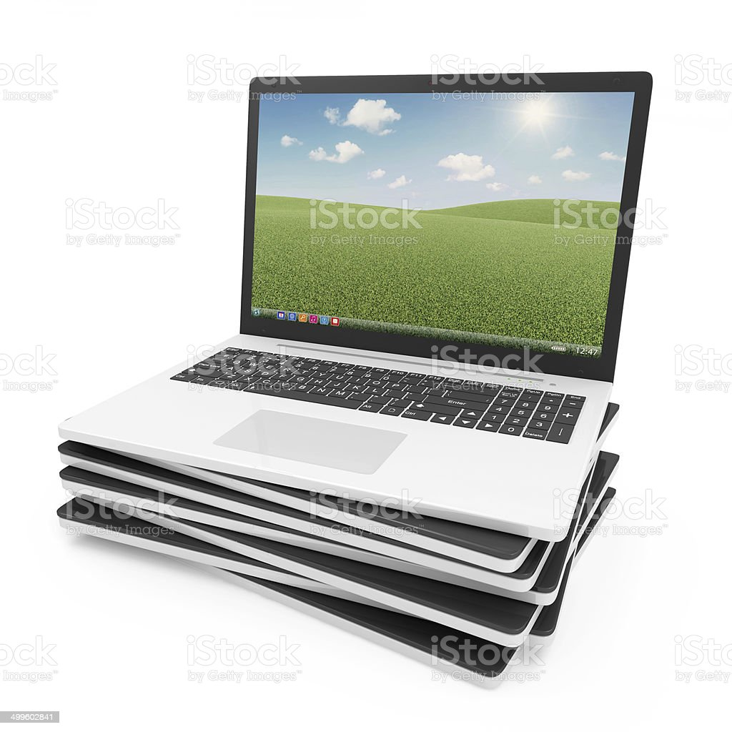 Stack of Modern Laptops isolated on white background stock photo
